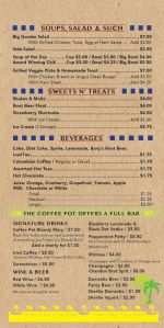 Coffee Pot Food Menu Soup Sweets Liquor